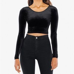 American Apparel stretch velvet black crop top M